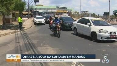Obras na Bola da Suframa em Manaus mudam trânsito - Avenida Danilo Aerosa passa a ter sentido único.