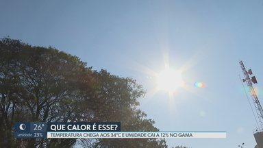 Sábado foi de calor de 34°C e umidade de 12% - Segundo Inmet, temperaturas devem subir mais nos próximos dias.