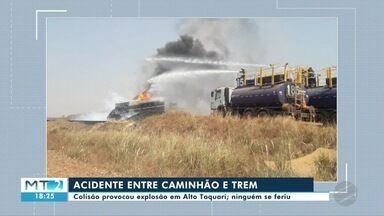 Em Alto Taquari colisão entre trem e caminhão tanque provoca explosão - Em Alto Taquari colisão entre trem e caminhão tanque provoca explosão.