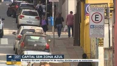 Primeiro dia sem cobrança do estacionamento rotativo gera dúvidas em Florianópolis - Primeiro dia sem cobrança do estacionamento rotativo gera dúvidas em Florianópolis