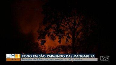 Moradores enfrentam queimadas em São Raimundo das Mangabeiras - Fogo atingiu uma casa e por pouco não chegou aos estabelecimentos comerciais.
