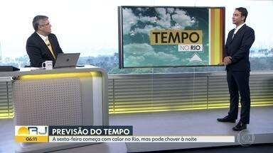 Confira a previsão do tempo para esta sexta-feira (20) - Sexta-feira (20) começa com calor no Rio, mas pode chover à noite.