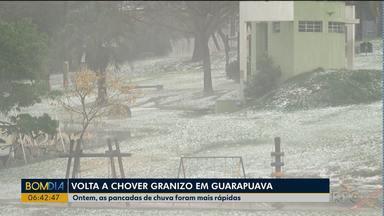Volta a chover granizo em Guarapuava e região - Chuva mais forte foi na quarta-feira.
