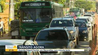 Obras deixam o trânsito complicado na região de Narandiba, em Salvador - Saiba como está o trânsito em diversos pontos de Salvador no início da manhã desta sexta-feira (20).