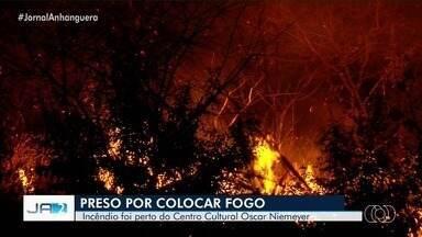 Polícia prende homem suspeito de colocar fogo em área de Goiânia - Queimada foi perto do Centro Cultural Oscar Niemeyer