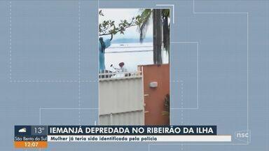 Polícia identifica mulher suspeita de depredar imagem religiosa em Florianópolis - Polícia identifica mulher suspeita de depredar imagem religiosa em Florianópolis