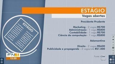 Confira as vagas de estágio disponíveis no Oeste Paulista - Oportunidades são intermediadas pelo Ciee.