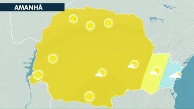 Previsão de tempo seco e calor para esta sexta-feira - Em Cascavel a máxima pode chegar aos 29 graus.
