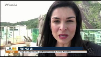 Priscilla Castro apresenta o Jornal Nacional neste sábado, 28 de setembro - Apresentadora da TV Liberal fala sobre a preparação que antecede o jornal. Três shoppings de Belém estão com telões para companhar o JN
