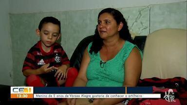 Sonho de criança caririense é conhecer o artilheiro do Flamengo - Saiba mais em g1.com.br/ce