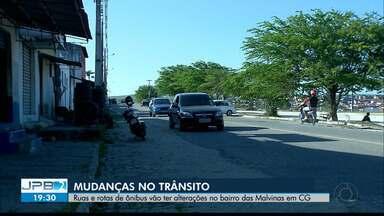 Ruas e rotas de ônibus vão ter alterações no bairro das Malvinas em Campina Grande - Mudanças no trânsito.