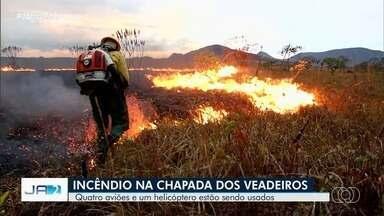Incêndio atinge a Chapada dos Veadeiros, em Alto Paraíso de Goiás - Noventa profissionais, entre bombeiros e brigadistas, atuam no combate das chamas dentro e fora do parque. Mais de seis mil hectares já foram consumidos pelo fogo, segundo os militares.