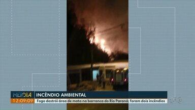 Fogo destrói área de mata na barranca do Rio Paraná - Foram dois incêndios. Um no domingo e o outro na segunda de manhã.
