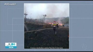 Focos de queimadas são registrados em área de vegetação próximo a Belo Monte, no PA - As chamas foram localizadas no fim de semana.