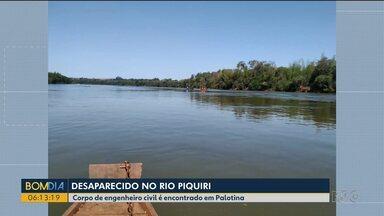 Corpo de homem que pescava em rio na região oeste é encontrado - Amigos e familiares sobrevoaram o Rio Piquiri com helicóptero para ajudar nas buscas.