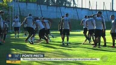 Técnico Gilson Kleina tem todo o elenco da Ponte liberado para próximo jogo - A Macaca enfrenta o Botafogo SP no próximo sábado (5).