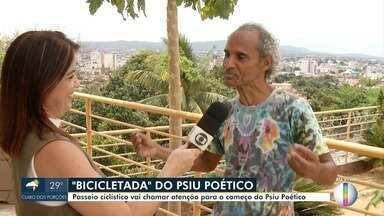 Psiu Poético realiza 'Bicicletada' em Montes Claros - Passeio ciclístico vai chamar a atenção para o começo do Psiu Poético, que será realizado de 04 a 12 de outubro. Ao vivo, fundador do do Psiu Aroldo Pereira, fala sobre a programação dos eventos.
