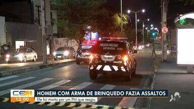 Policial reage e mata homem que realizava assaltos com arma de brinquedo - Saiba mais no g1.com.br/ce