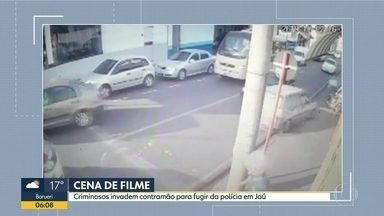 Criminosos invadem contramão para fugir da polícia em Jaú - Ninguém ficou ferido. Um bandido foi preso e dois fugiram.