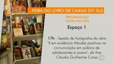 Confira a programação para esta quinta-feira (03) na Feira do Livro de Caxias do Sul - Assista ao vídeo.