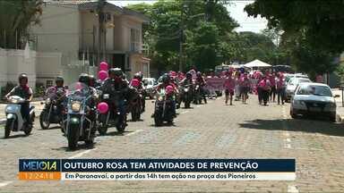 Ações do Outubro Rosa são realizadas em várias cidades do Noroeste - Em Paranavaí as atividades são na Praça do Pioneiros.