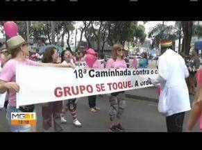 """18ª Caminhada de Prevenção ao Câncer de Mama é realizada em Ipatinga - A caminhada foi realizada pelo Grupo de Apoio """"Se toque"""" que acolhe pessoas em tratamento contra a doença."""