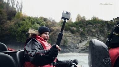 Fant 360: barco a jato atinge 90 km/h em rio na Nova Zelândia - As aventuras na Nova Zelândia continuam. Dessa vez, a repórter Renata Ceribelli vai até o Rio Shotover para encarar mais adrenalina com uma tirolesa em queda livre e um passeio em um barco a jato que atinge 90 km/h.