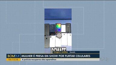 Polícia recupera dez celulares furtados durante o Festeja - Suspeita do crime foi presa com aparelhos.