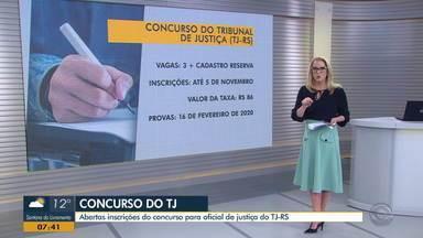 Inscrições do concurso para oficial de justiça do TJ-RS estão abertas - Assista ao vídeo.