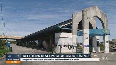 Indígenas continuam ocupando provisoriamente terminal de Florianópolis - Indígenas continuam ocupando provisoriamente terminal de Florianópolis