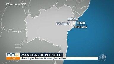 Petróleo encontrado em praias pode ter surgido através de navios, segundo pesquisadores - Na Bahia, quatro municípios têm vestígios do produto. O ministro Ricardo Salles esteve em Aracaju para ver de perto a situação, que acontece em todos os estados do Nordeste.