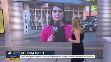 Falso advogado é preso após enganar mais de 50 pessoas em compra e venda de carros - Estelionatário aplicava golpes pelas redes sociais, em Erechim.
