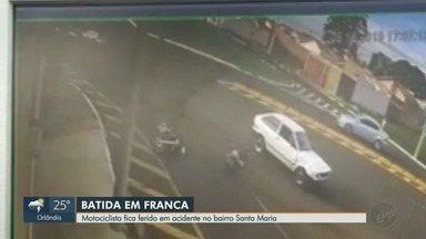 Motociclista fica ferido após batida em Franca, SP - Acidente ocorreu no cruzamento entre a Rua Rui Barbosa e a Avenida Nossa Senhora de Lourdes.