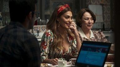 Zé Hélio ajuda Maria da Paz a se inscrever no concurso - Amadeu orienta a boleira sobre o pagamento da dívida com o banco