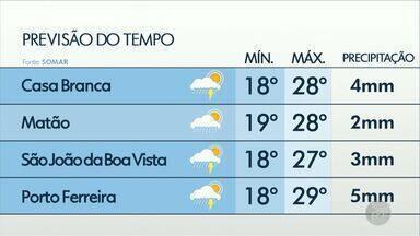 Confira a previsão do tempo para as regiões de Ribeirão Preto e Central do Estado - Máxima de 28°C em São Carlos e 29°C em Ribeirão.