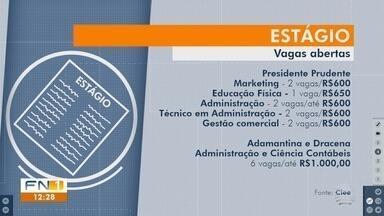 Estudantes podem disputar vagas de estágio no Oeste Paulista - Interessados devem procurar o Centro de Integração Empresa-Escola (Ciee).