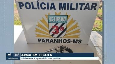 Adolescente é apreendido com revólver em escola - Em Mato Grosso do Sul.