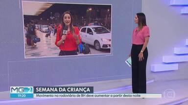 Feriado e Semana da Criança aumentam movimento na rodoviária de BH - Mais de 180 mil pessoas devem deixar a capital. Principais destinos são as praias do Rio, Espírito Santo e Bahia.