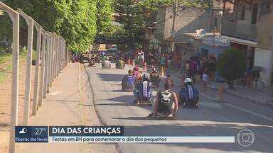 Dia das Crianças ao ar livre, em BH - Festas reúnem pais e filhos em brincadeiras nas ruas da capital.