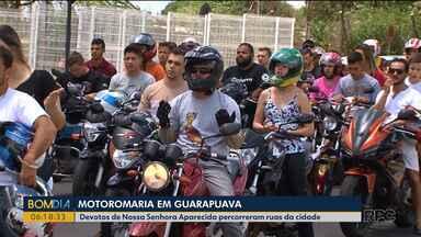 Fiéis fazem motoromaria em Guarapuava - Devotos de Nossa Senhora Aparecida percorreram ruas da cidade.