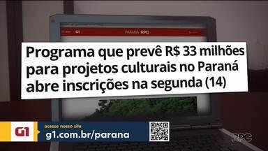 Projetos culturais podem se inscrever para receber incentivo a partir desta segunda (14) - Mais de R$ 33 milhões vão ser destinados para os inscritos no Programa Fomento Paraná.