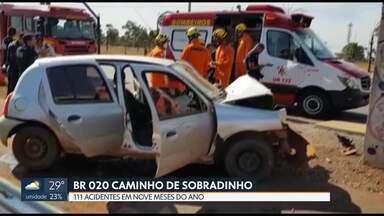 111 acidentes na BR 020 este ano - A BR 020, caminho para Sobradinho, é uma das rodovias mais perigosas do DF.