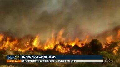 Tempo seco agrava incêndios ambientais em Londrina e região - Durante o final de semana, foram 31 ocorrências, 11 só em Londrina.