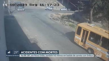 Ônibus atinge carro em cruzamento no Anel Rodoviário de BH e deixa mortos - Um acidente entre um ônibus suplementar e um carro deixou dois mortos na tarde desta segunda-feira (14) no Anel Rodoviário de Belo Horizonte, segundo o Corpo de Bombeiros. Uma câmera de monitoramento no local flagrou o momento da batida.