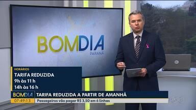 Seis linhas vão circular com tarifa reduzida em Curitiba a partir de amanhã - Passageiros vão pagar R$ 3,50 nessas linhas.