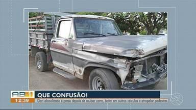 Gari rouba carro, colide em outros quatro veículos e atropela três pessoas em Caruaru - Suspeito vai passar por audiência de custódia nesta terça-feira (15).