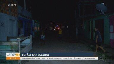 Moradores do bairro Cidade Nova, em Macapá, pedem iluminação para vias há um ano - Iluminação pública é precária no local.