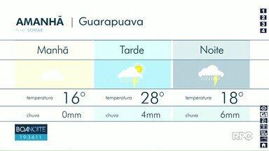 Chuva deve continuar nesta quinta-feira em Guarapuava - Temperaturas variam entre os 16°C e 28°C na cidade.