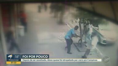 Câmeras de segurança flagram idoso quase sendo atropelado após ser assaltado em Campinas - Segundo uma comerciante da região, o idoso sofreu ferimentos leves e a polícia foi chamada mas o casal foi embora do local.