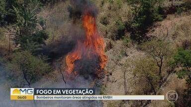 Bombeiros monitoram áreas atingidas por incêndios na Grande BH - Região da Pampulha continua coberta de fumaça.